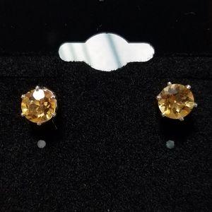 Lovely Sears sterling silver citrine stud earrings